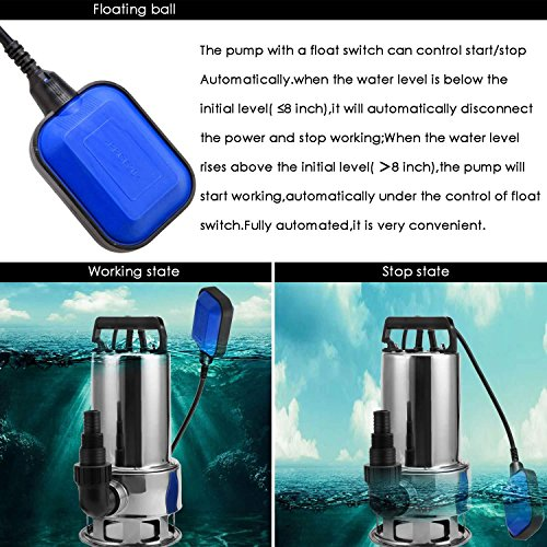 ThinIce 1.5 HP Stainless Steel Submersible Sump Pump Clean Dirty Water Pump with 15ft Cable and Float Switch 1100W (US STOCK) by ThinIce (Image #5)