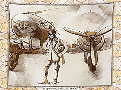 Airplane Decor Fleece Throw Blanket Watercolor Design of a Pilot with His Aircraft in World War Soldier Early Flying Print Throw