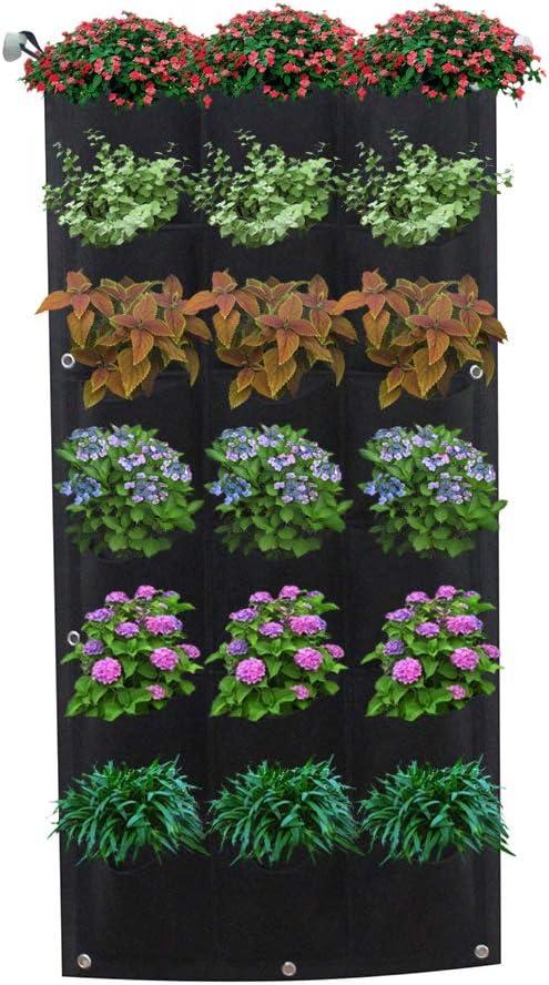 Maceta de jardín vertical con 18 bolsillos, para colgar en la pared de la planta, para decoración del jardín o el hogar, maceta vertical para colgar en el jardín: Amazon.es: Hogar