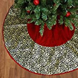 "50"" Diva Safari Red Velveteen Leopard Animal Print Christmas Tree Skirt"