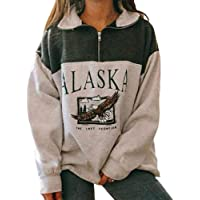 Women Novelty Alaska Letter Print Stand Collar Hoodie Vintage Long Sleeve Sweatshirt Pullover
