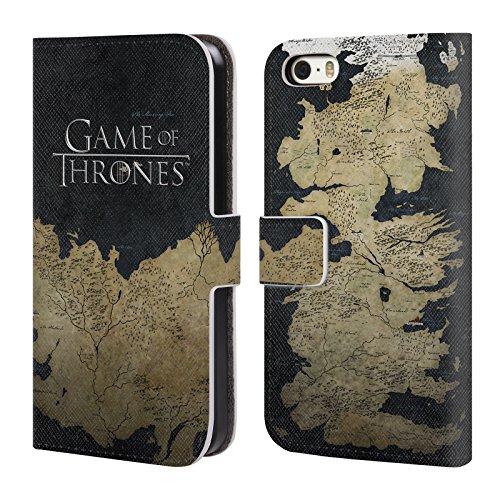 Officiel HBO Game Of Thrones Westeros Carte Art Clé Étui Coque De Livre En Cuir Pour Apple iPhone 5 / 5s / SE