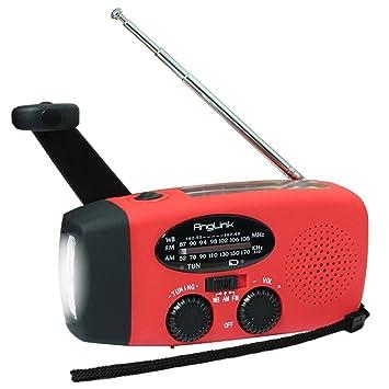 Solar Radio Portátil, AngLink Radio Dinamo con Manivela de Autoalimentado AM/FM/WB Weather Radio | Linterna LED | Teléfono Cargador para Aire Libre, ...