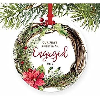 Amazon.com: We're Engaged. Personalized Tree Ornament: Home & Kitchen