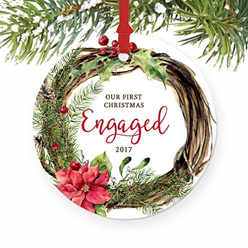 Our First Christmas Engaged Ornament 2017, Holiday Wreath Engagement Gift Porcelain Ornament, 3