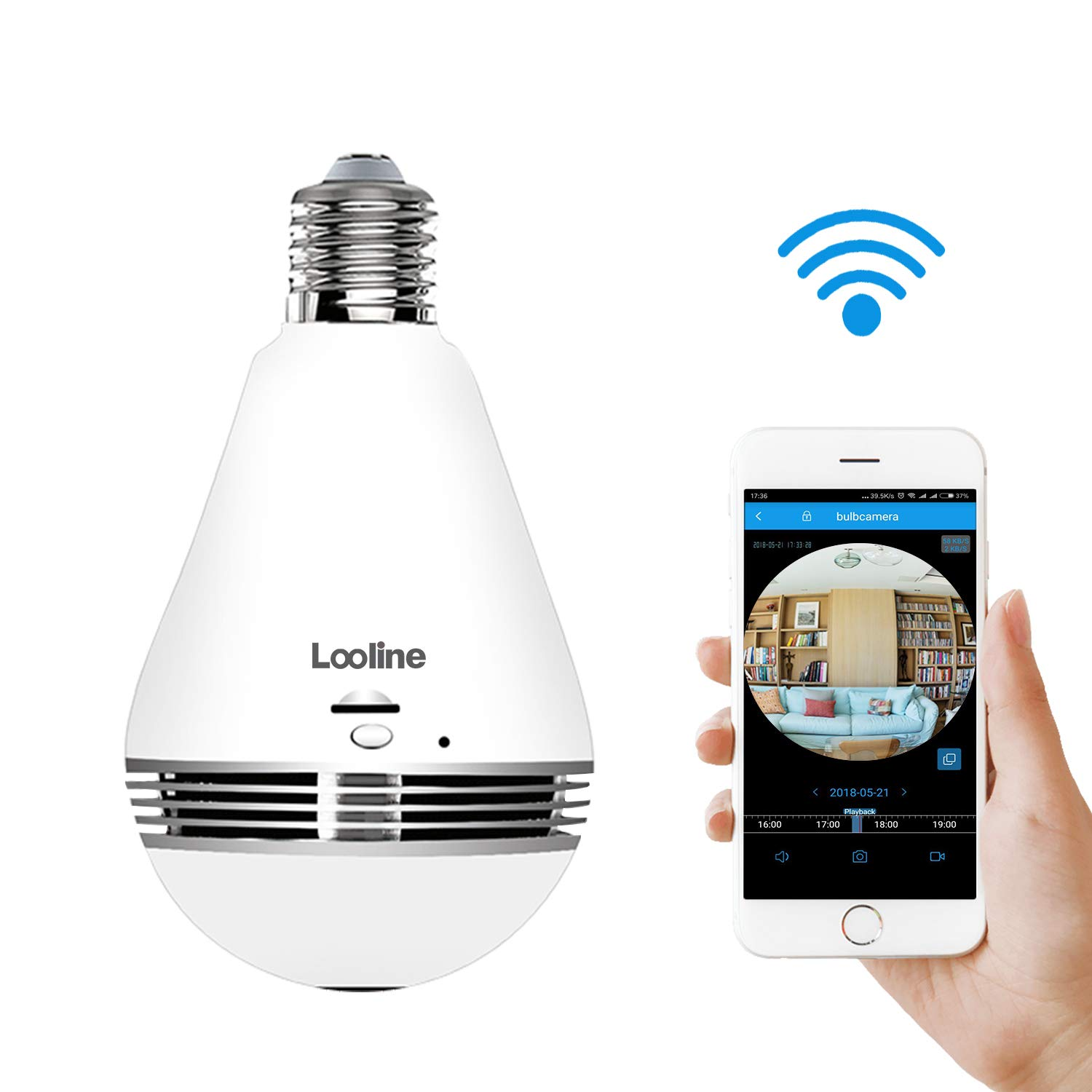 Light Bulb Camera VR Panoramic IP Wireless WiFi Camera Include 16GB TFCard with Cloud Store 360 Degree Fisheye Lens Lighting Lamp for Home Security Camera Bulb 960P HD E27 LED Dimmable Lamp by Looline (Image #1)