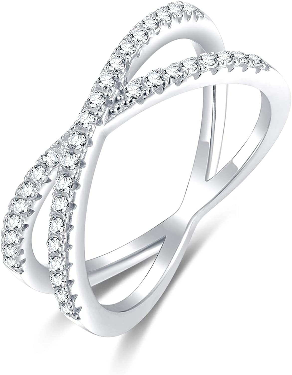 SOMEN TUNGSTEN 925 Sterling Silver Criss Cross Rings CZ Eternity Engagement Wedding Band Size 4-13
