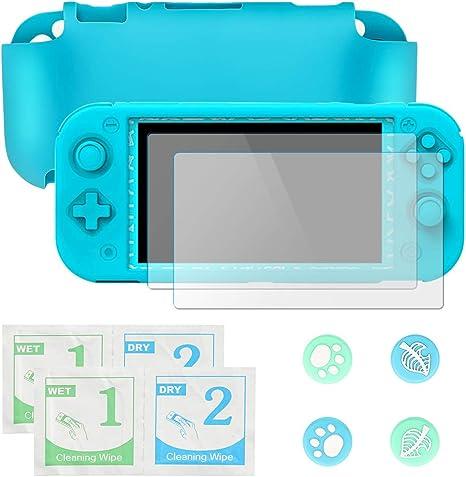 Funda para Nintendo Switch Lite, Carcasa Nintendo Switch Lite con 2 Protector de Pantalla y 4 Agarres para el Pulgar ...
