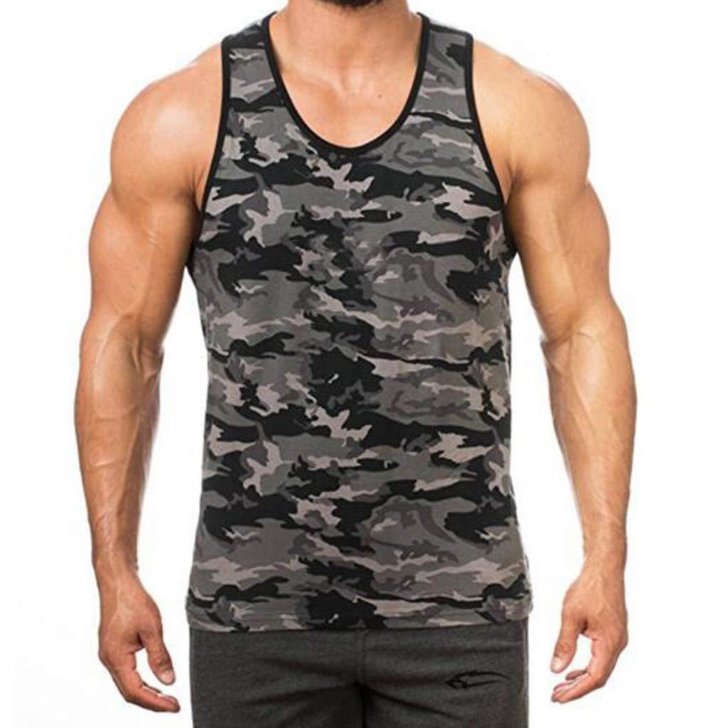 Men Shirts Tank Top Camouflage Printed Sports Vest Sleeveless Bodybuilding Workout Tee (L3, Dark Gray)
