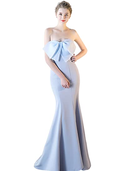 CutieTell Womens Sweetheart Bow Lace Up Mermaid Satin Evening Gown Prom Dress Sky Blue 2 at Amazon Womens Clothing store: