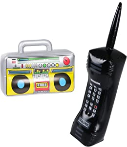 2PCS Inflatable Boombox and Mobile Phone - 80s 90s Party Decorations Supplies Cosplay Props - Rappers Hip Hop B-Boys Costume Accessory