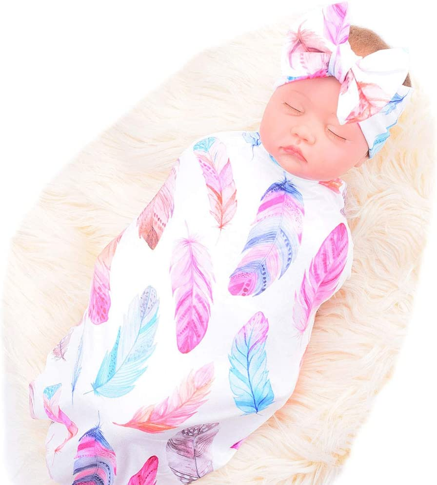 Bucaum Newborn Receiving Blanket Headband Set Flower Print Baby Swaddle Receiving Blankets (White Feathers)