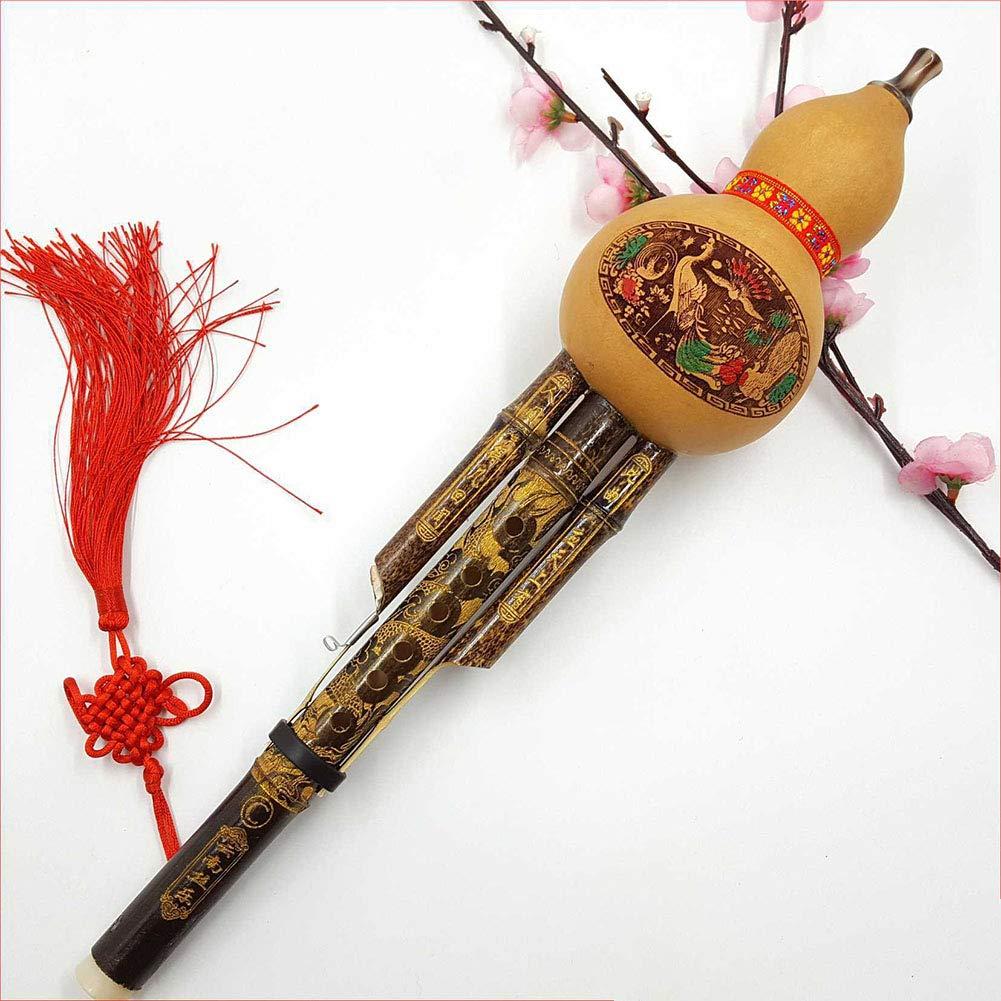 EDTara Handmade Bamboo Hulusi Chinese Gourd Cucurbit Flute Traditional Ethnic Instrument C Key Bb Tone for Beginner Music Lovers