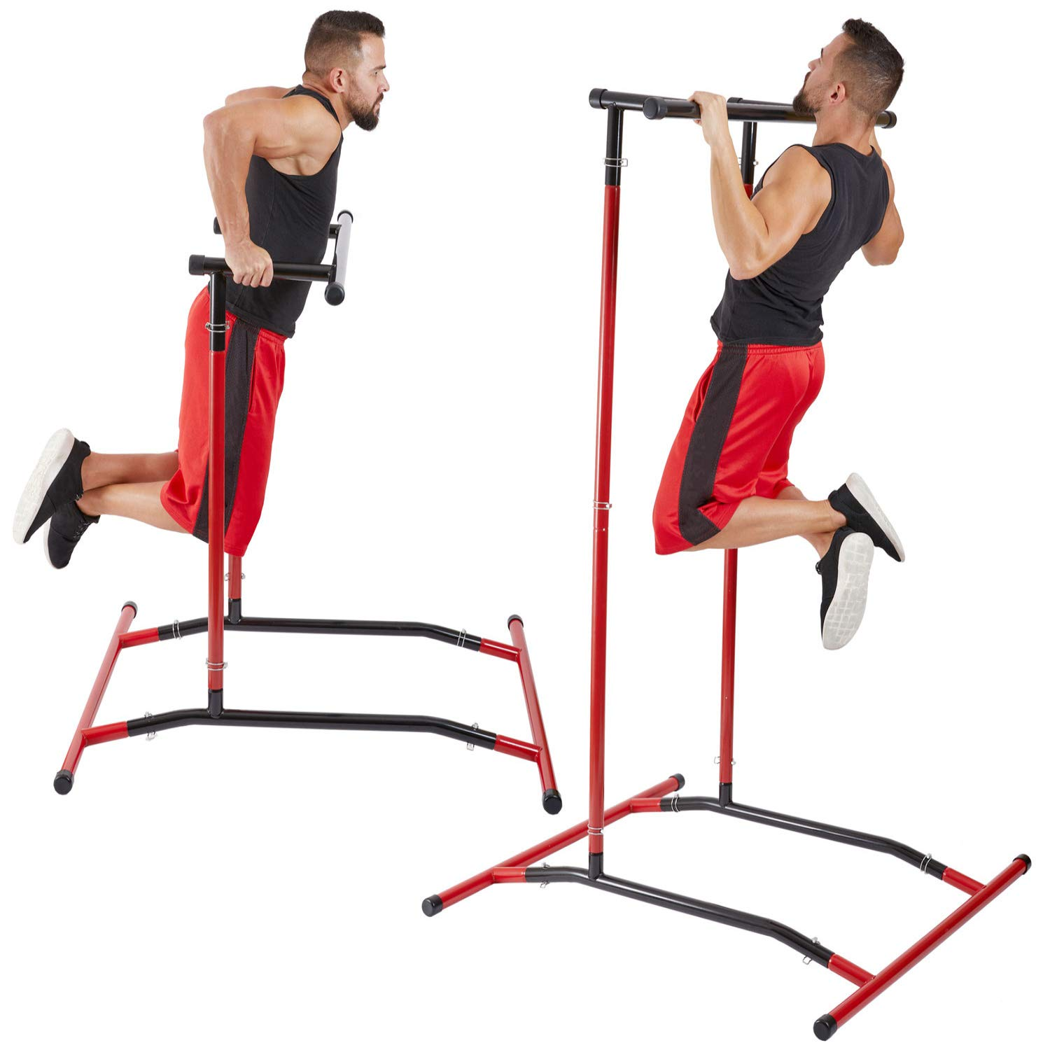 GoBeast Pull Up Bar Free Standing Dip Station – Portable Power Tower Home Gym Equipment With 3 Resistance Bands, Storage Bag And Downloadable Exercise Manual,Red Black