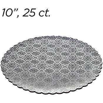 """10"""" Silver Scalloped Edge Cake Boards, 25 ct"""