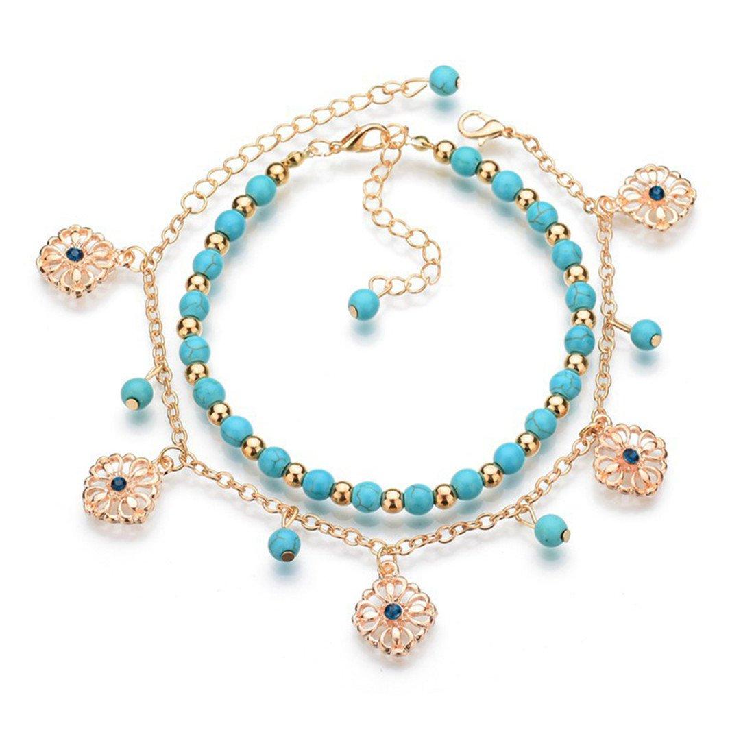 Yesiidor Boh/ème Double Couche Cheville avec Creux Pendentif Fleur Vintage Perle Turquoise Cheville Sandales de Plage Pieds Nus Bracelet de Cheville Pied Bijoux