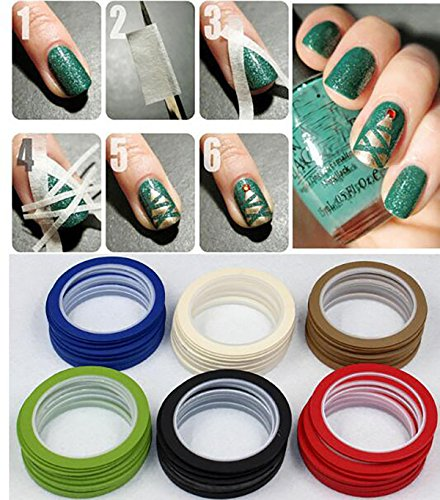 Set of 10 Colourful Self Adhesive Chart Tapes Artist Tape Whiteboard Gridding Graphic Tape Grid Marking Tapes Warning Line Tapes (5mm Width) by Flyott (Image #1)