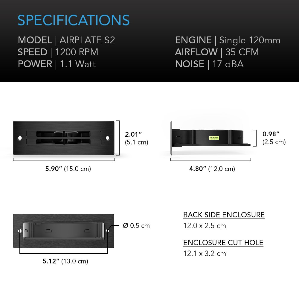 Quiet Cooling Blower Fan System 6 with Speed Control AC Infinity AIRPLATE S2 for Home Theater AV Cabinets