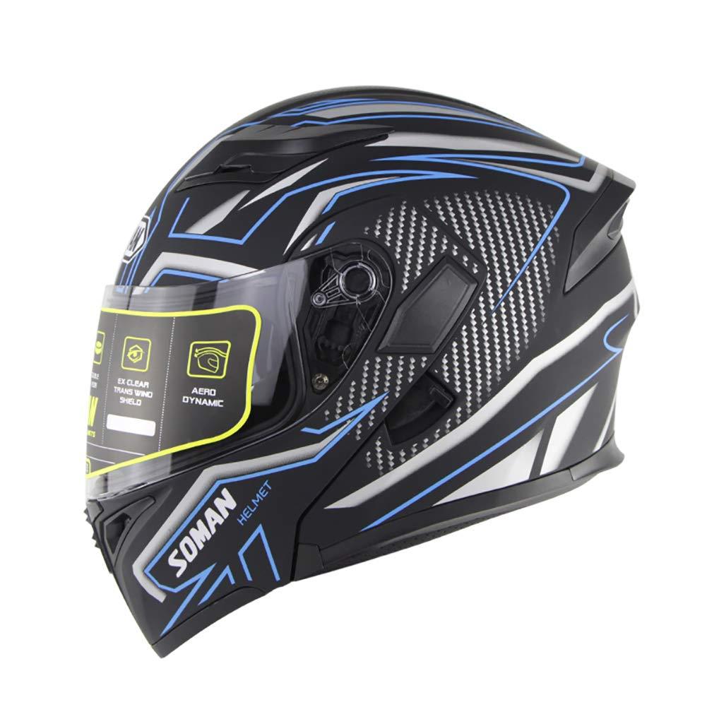 ,M QZFH El tir/ón de la Motocicleta de la Cara Llena Cascos Moto Doble Visera de Carreras de Motocross Casco Modular Casco de la Moto para Hombres Mujeres Mate Negro Azul