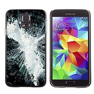 MOBMART Carcasa Funda Case Cover Armor Shell PARA Samsung Galaxy S5 - Steel Broken Monochrome Buildings