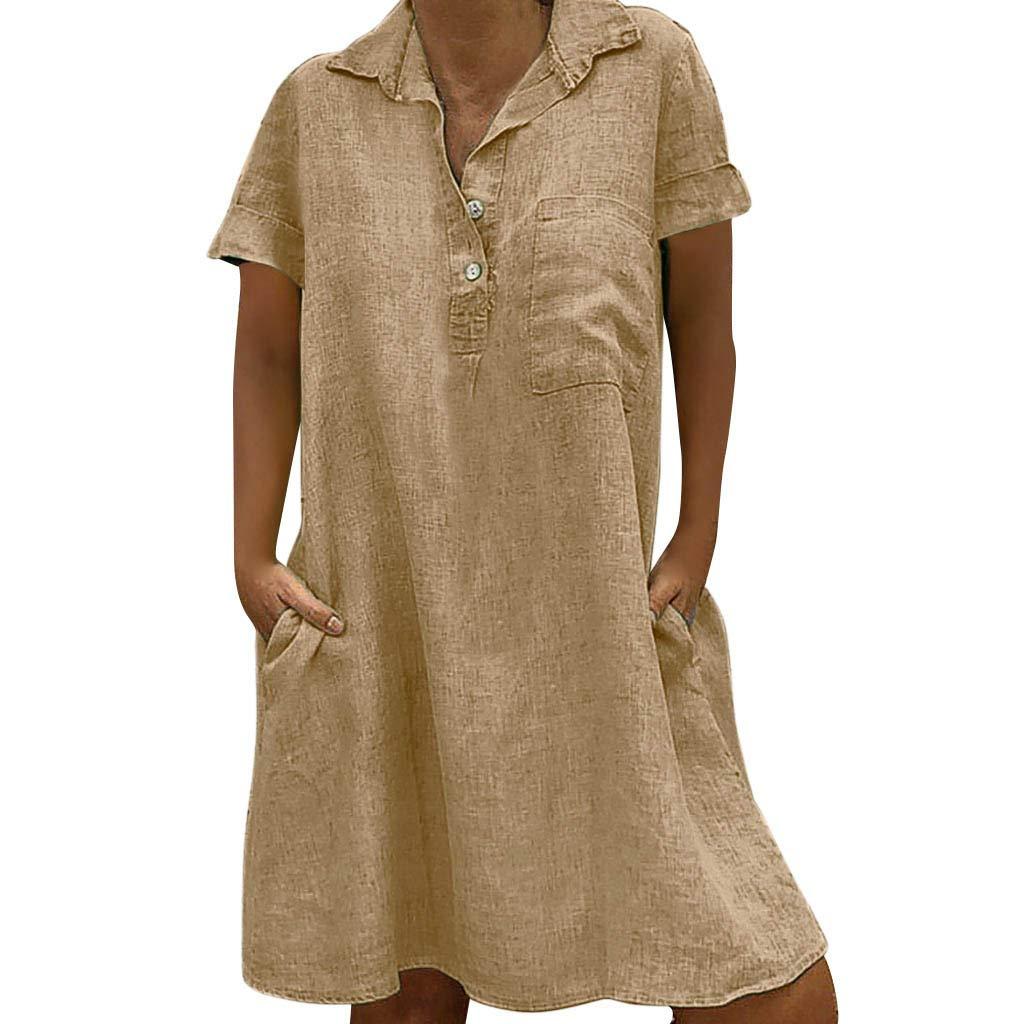 Zaidern Women Dress Women's O Neck Casual Solid Above Knee Dress Sleeve Loose Party Mini Dresses Sundress Beige