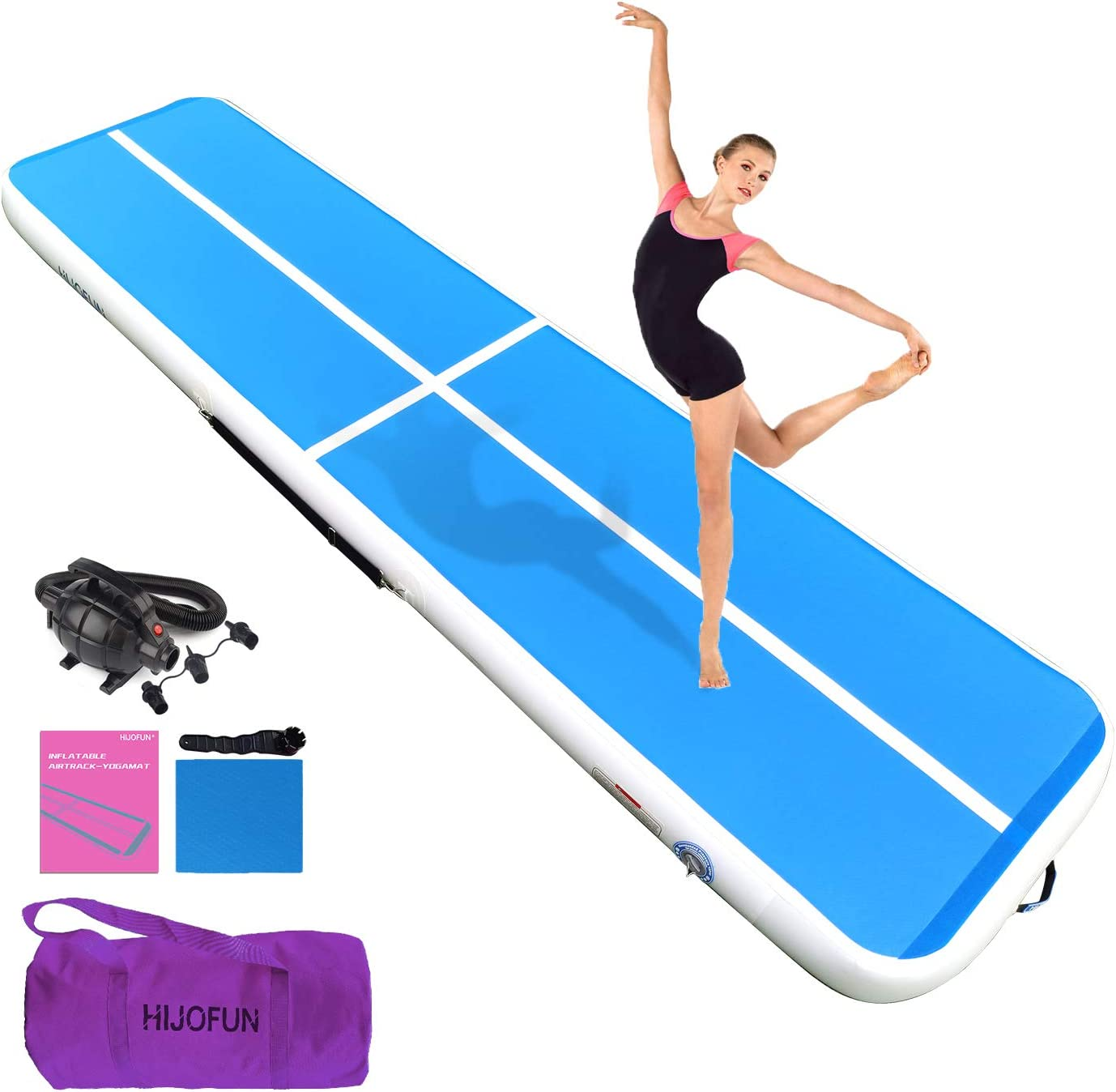 Gym Air Floor Yoga Mat for Outdoor Sports//Training//Cheerleading//Beach//Park HIJOFUN Air Track Tumbling Mat Inflatable Gymnastics Mat for Toddler//Adults