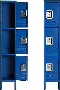 Metal Locker for School Office Gym Metal Storage Locker Cabinet for Employees Students Steel Locker Triple Tier with 3 Door Blue