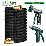 Gamegie Garden Hose 100 ft,Water Hose Metal Hose Nozzle Spray & Car Washing Nozzle,2018 Upgrade Extra Strength Expandable Hose