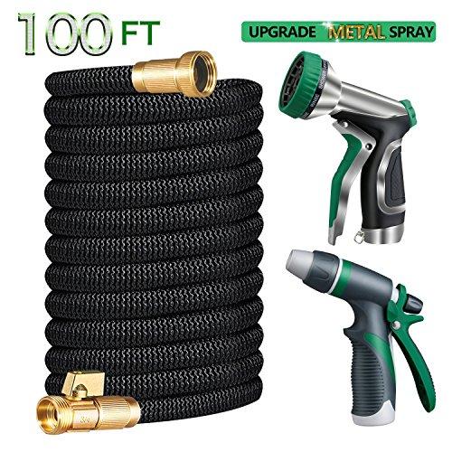 Gamegie Garden Hose 100 ft,Water Hose Metal Hose Nozzle Spray & Car Washing Nozzle,2018 Upgrade Extra Strength Expandable Hose by Gamegie