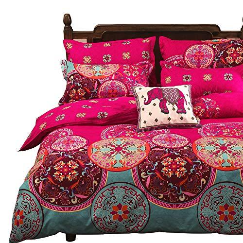Vaulia Lightweight Microfiber Duvet Cover Set, Bohemia Exotic Patterns Design, Bright Pink - Twin Size