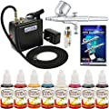 Master Airbrush Multi-purpose Airbrush Kit with Mini Compressor, Dual-action Gravity Feed Airbrush. Air Hose and 8 Color Tattoo Paint Set