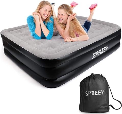 Spreey Colchón hinchable para 2 personas, eléctrico, para camping, viaje, invitados; colchón neumático cómodo con bomba eléctrica integrada, mueble para oficina, color gris