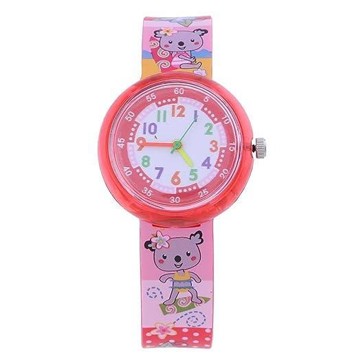 RLFS Relojes de Dibujos Animados para niñas Reloj de Cuarzo Redondo con Estampado Redondo Reloj de Cuarzo (3) por: Amazon.es: Relojes