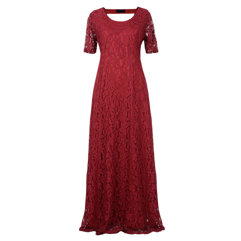 ylovego Women Elegant Lace Party Dress Plus Size 7XL 8XL 9XL Short Sl Silver Grey