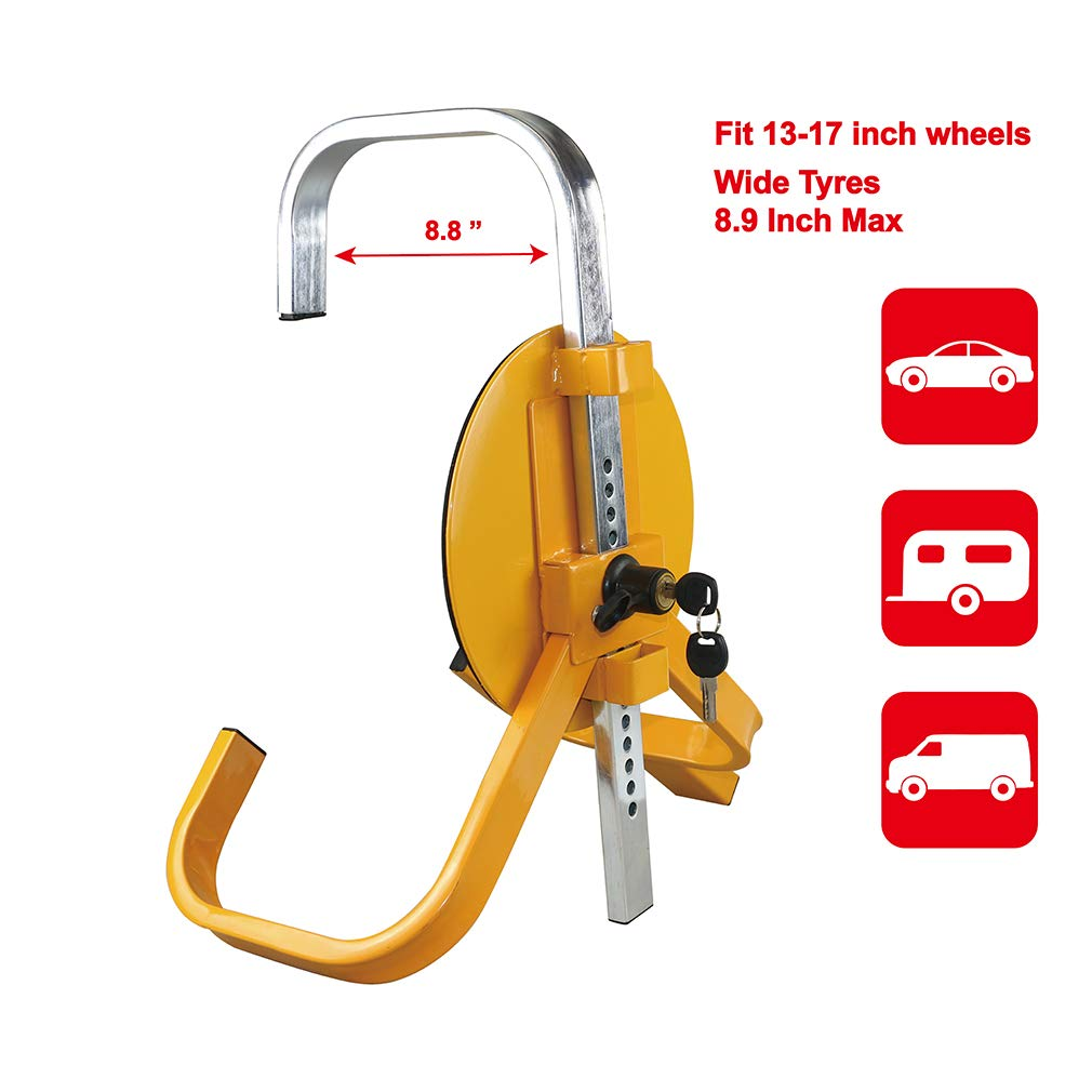 OKLEAD Full Cover Wheel Clamp Lock Anti-Theft Car Tire Boot Clamp Locks for Trailers Boats AtvS fits 8-10 Wheel