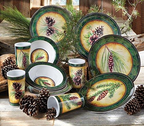 Pinecone Haven Rustic Dinnerware Set - 12 pcs - Rustic Kitchen Dinnerware