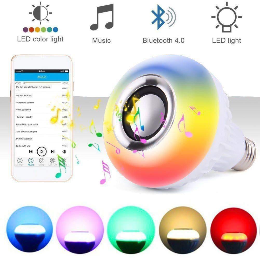 QLP-Z Bluetooth Glü hbirne E27 Glü hbirne Lautsprecher Smart Birne Dimmbare Licht Lamp mit Musik iOS und Android App fü r Zuhause, Bü hne, Bar, Hotel, Party Dekoration (Energieklasse A+++)