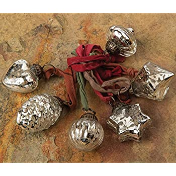 Luna Bazaar Mini Mercury Glass Ornaments (Assorted Designs, 1-Inch, Silver, Set of 6) - Vintage-Style Decorations - Vintage-Style Mercury Glass Christmas Ornaments