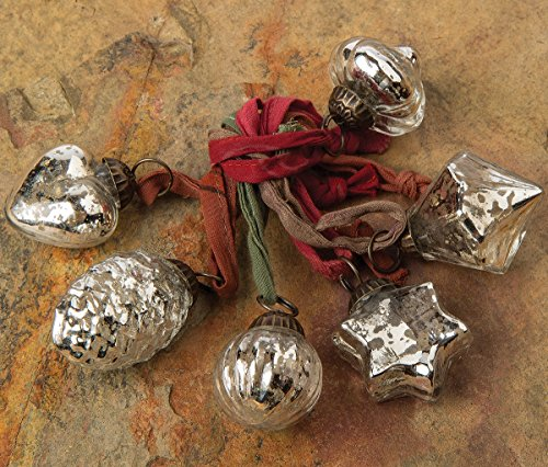 Cultural Intrigue Luna Bazaar Mini Mercury Glass Ornaments (Assorted Designs, 1-Inch, Silver, Set of 6) - Vintage-Style Decorations - Vintage-Style Mercury Glass Christmas - Christmas Ornament Glass Design