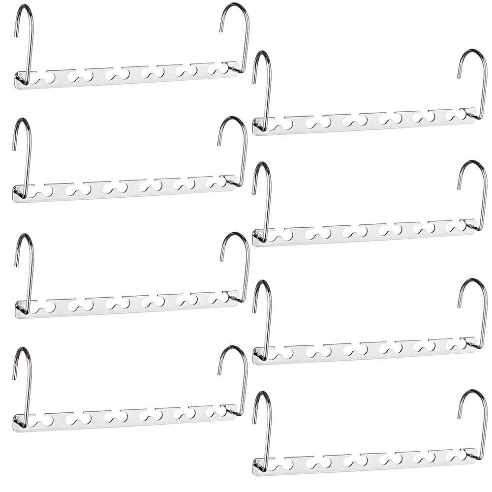 HOUSE DAY 10.5 Inch Closet Space Saving Wardrobe Clothing Magic Hangers Oragnizer Heavy Chrome Hangers, Updated Hook Design Pack of 8