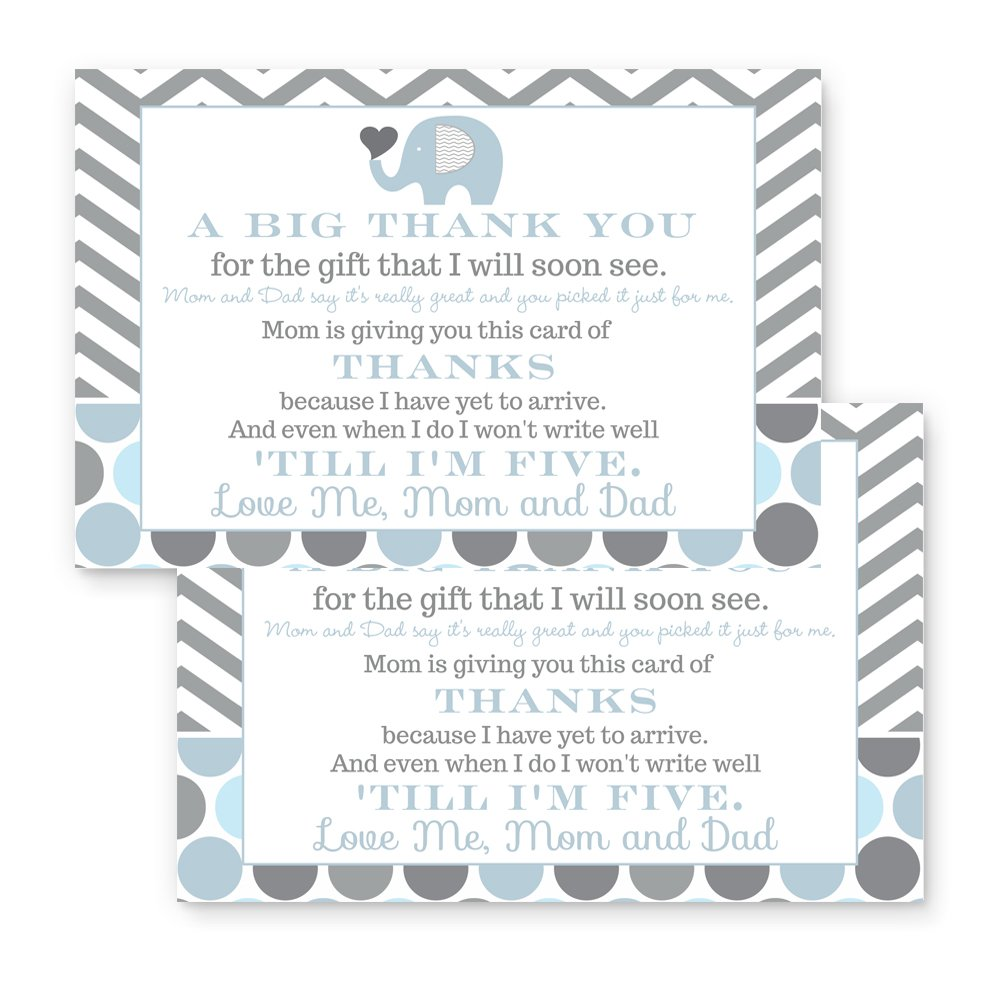 Blue Elephant Baby Shower Thank You Postcard Set of 15 (Cards Only)