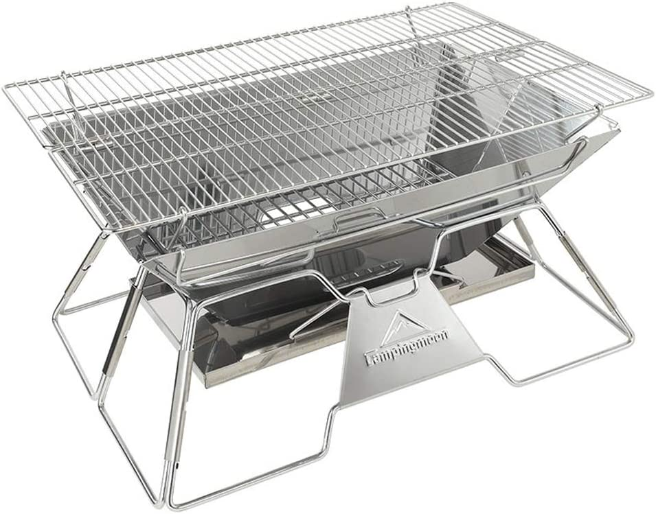 Campingmoon Foldable BBQ Grill, Portable Charcoal Grill, Stainless Steel Wood Burning Stove, Barbecue Cooking Stove for Outdoor/Garden/Camping/Picnic/Party (MT-3)