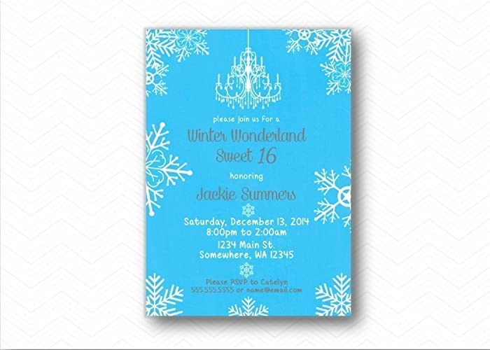 winter wonderland snowflake sweet 16 printed birthday invitations birthday party invites
