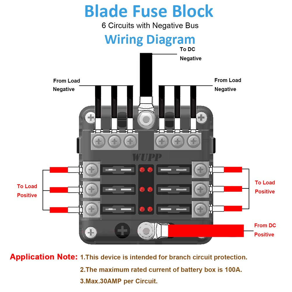 amazon com: wupp st blade fuse block with led warning indicator damp-proof  cover - 6 circuits with negative bus fuse box for car boat marine rv truck  dc