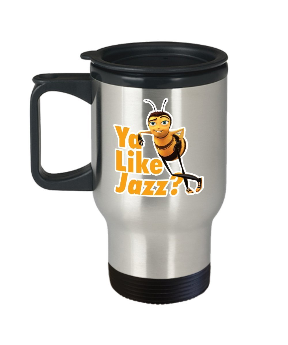 Ya Like Jazz Bee Movie Coffee Mug Cup (Travel) 14 oz Funny Barry the Bee Gift Merchandise Accessories Decal Sticker - Bee Movie Script