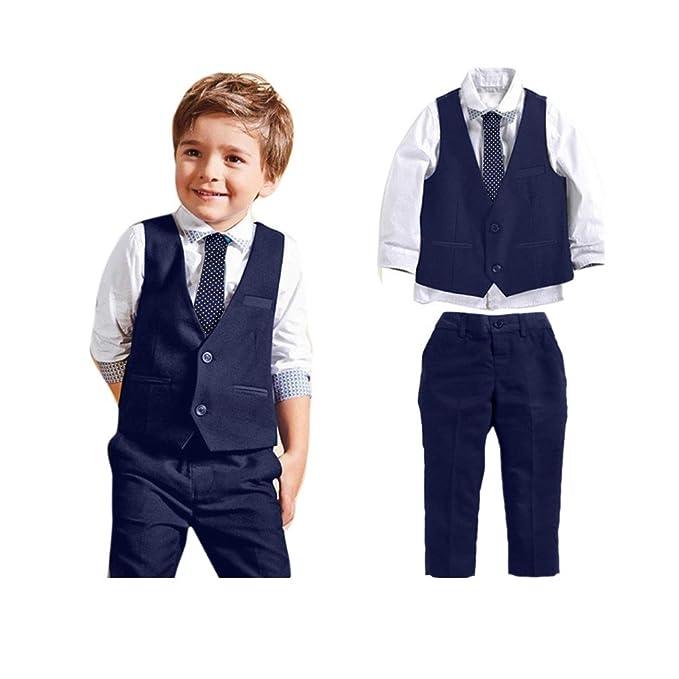 402179bda Amazon.com  Sunbibe 2-7 Years Old 4pcs Baby Clothes Boys Gentleman ...