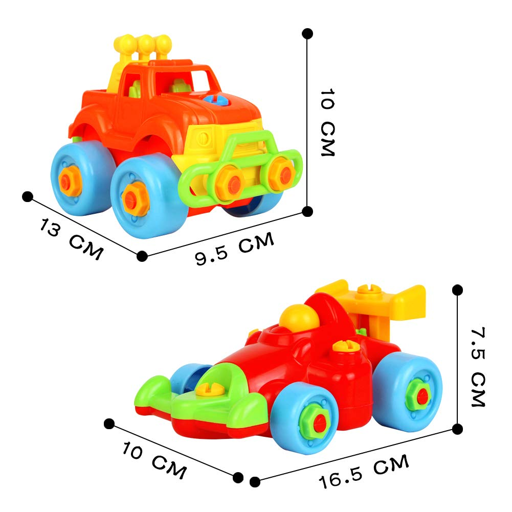 Nuheby Take Apart Cars Toy Disassemble Building Toys Construction Vehicles 2 in 1 Disassembly Racing Cars Educational Toys for Boys Girls 3 4 5 Years Old