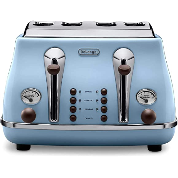 Delonghi Vintage Icona Duck Egg Blue 4 Slice Toaster