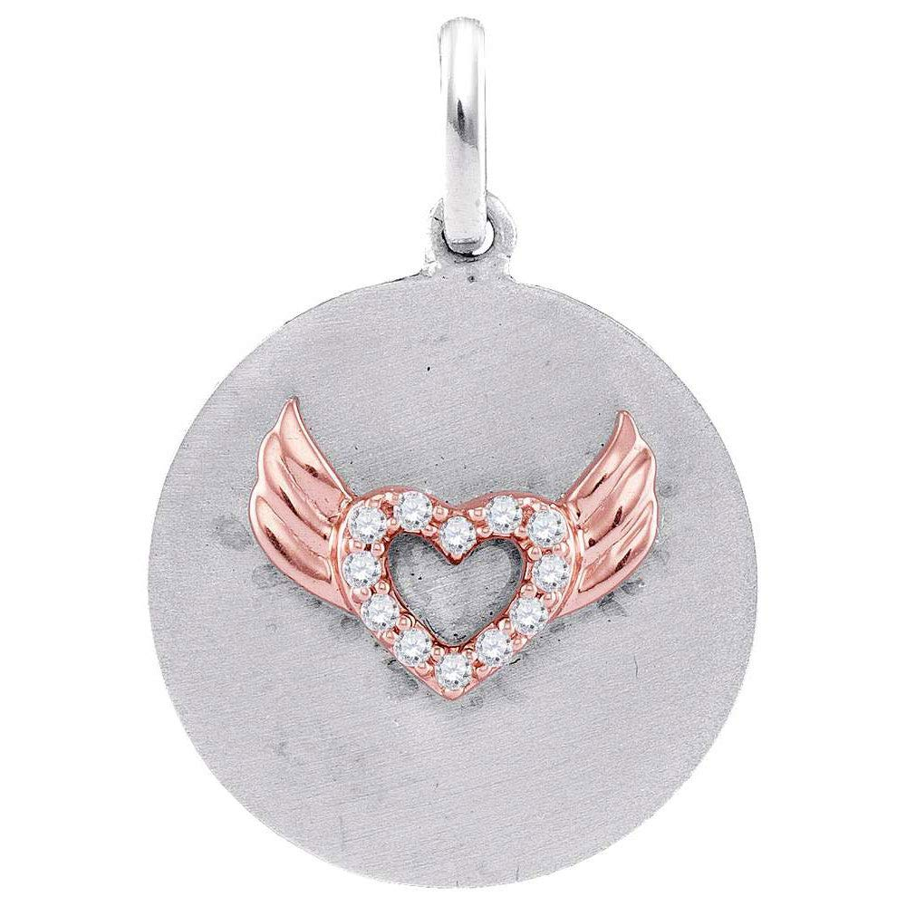 Dazzlingrock Collection Sterling Silver Womens Round Diamond Angel Wings Heart Medallion Pendant 1//20 Cttw