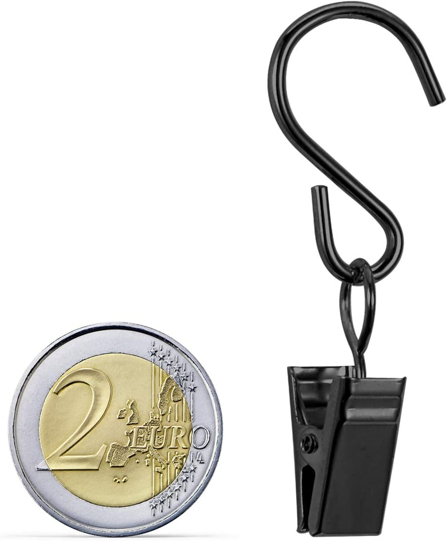 CattleyaHQ 40 Pezzi Clip per Tenda con Ganci,Ganci Appendiabitiv in Metallo Nero Mollette Metalliche con Ganci,Clip per Foto con Scatola